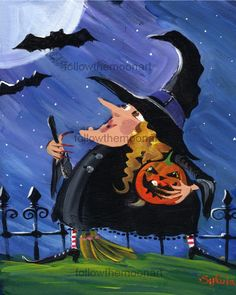 Bats & Scary Witch Jackolantern Halloween Wall Art Print