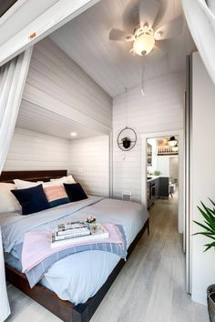 Double Slide-Outs Tiny House on Wheels by Mint Tiny Homes Tiny House Move. : Double Slide-Outs Tiny House on Wheels by Mint Tiny Homes Tiny House Move… Tiny House Closet, Tiny House Bedroom, Best Tiny House, Tiny House Cabin, Tiny House Living, Tiny House Plans, Tiny House On Wheels, Home Bedroom, Tiny Bedrooms