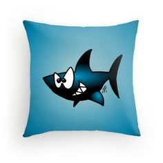 Smiling Shark throw pillow. #Redbubble #Cardvibes #Tekenaartje