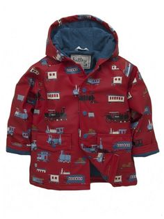 Hatley Trains raincoat.  This Hatley Trains waterproof raincoat is perfect for any little boy!It has an all over tains print, a comfy blue terry lining, hood, and front pockets.  £28.99
