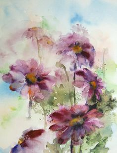 Pink Daisy Flowers  Fine Art Print of Original Watercolor Painting  Pink Floral  Abstract Art  Watercolor Painting Art      Professional quality