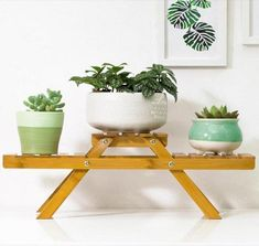3 Pot Wooden Small Plant Stand Succulent Flower Rack Indoor Desk Decor – BringHome Furniture Wooden Planters, Planter Pots, Small Plant Stand, Plant Shelves, Small Plants, My Room, Bamboo, Succulents, Indoor