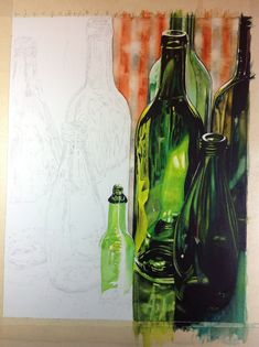 sketch draw paint how to paint realistic bottles by carrie waller