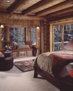 Warm and cozy cabin bedroom! Love this cabin style decor! Log home bedroom, Log Cozy Cabin Bedrooms, Home, Home Bedroom, Rustic Master Bedroom, Log Home Decorating, Cabin Living, Log Homes, Cabin Interiors, Log Home Bedroom