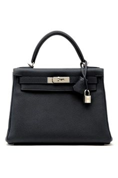 Hermès Kelly Bag // Black handbag with silver lock