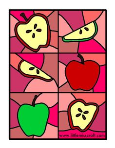 Apple Stained Glass Coloring Printable Page