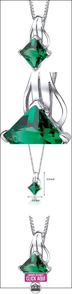 Revoni Colgante de plata de ley con esmeralda (2) con cadena de veneciana (1.9 cm)  ✿ Joyas para mujer - Las mejores ofertas ✿ ▬► Ver oferta: https://comprar.io/goto/B00A3C5N3E