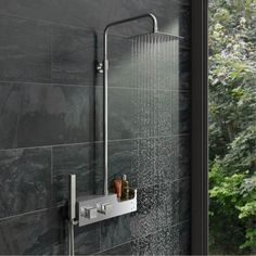 Chime Stainless Steel Shower Riser Rail Kit With Shelf VictoriaPlum.com