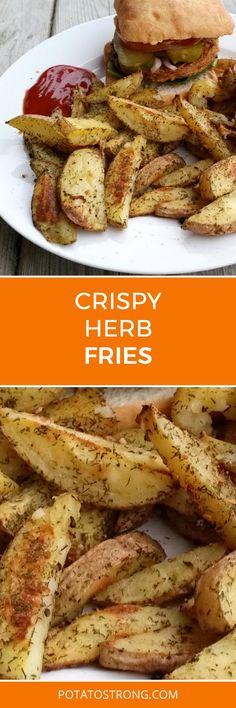 Crispy herb baked fries no oil