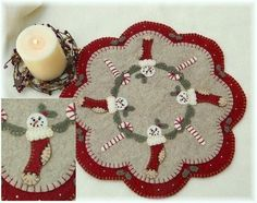 "Free Printable Penny Rug Patterns | ... Stockings Penny Rug/Candle Mat Pattern by "" Penny Lane Primitives"