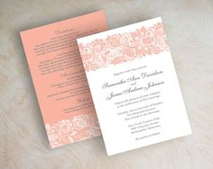 Peach and grey lace wedding invitation, country chic wedding invitations, lace wedding invite, lace wedding stationery, peach, coral, white, Jessica by www.appleberryink.com