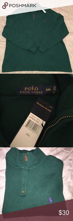 Ralph Lauren Polo Sweater Forest Green with a Purple Horse Polo Sweater. Brand New with Tags. 100% Cotton. Polo by Ralph Lauren Sweaters