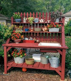 Upcycled Potting Bench created by my husband using salvaged materials including an old picnic table, swing set, garden fence, and a kitchen sink. Potting Bench With Sink, Outdoor Potting Bench, Pallet Garden Benches, Pallet Potting Bench, Potting Tables, Pallet Herb Gardens, Pallet Gardening, Garden Sink, Garden Table