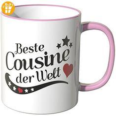 Wandkings® Tasse, Spruch: Beste Cousine der Welt - ROSA - Tassen mit Spruch | Lustige Kaffeebecher (*Partner-Link)