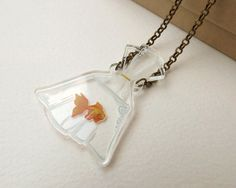 2D Goldfish in a Bag on Clear Acrylic by BakuForestStudios on Etsy