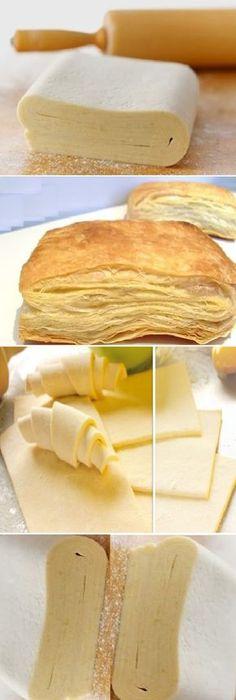 hojaldre casero fácil. Con esta receta ya no tienes escusa para hacer pastelitos dulces y también sala...