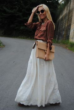 Long White Skirt Outfit