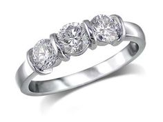 Platinum set three stone diamond engagement ring, with a certificated brilliant cut centre in a bar setting, and one brilliant cut on each shoulder. Total diamond weight: 0.73ct.  A 0.34ct centre, Brilliant, G, Three stone diamond ring. You can reserve online and view in store at Michael Jones Jeweller, Northampton