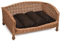 Handmade Wicker Dog Bed Sofa,with a removable,washable cushion.Sustainable wicker dog bed handmade from European willow. A luxury comfortable dog sofa.
