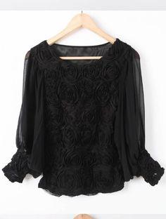 Black Long Sleeve Flowers Chiffon Blouse