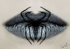 Creepy Halloween Lip Art You Need to See. Amazing make up for Halloween. Artist takes lip stick and make up to create works of art on the faces of people. Maquillage Halloween Vampire, Creepy Halloween Makeup, Spooky Halloween, Halloween Stuff, Vintage Halloween, Happy Halloween, Scream Halloween, Spider Costume, Black Widow Costume Spider