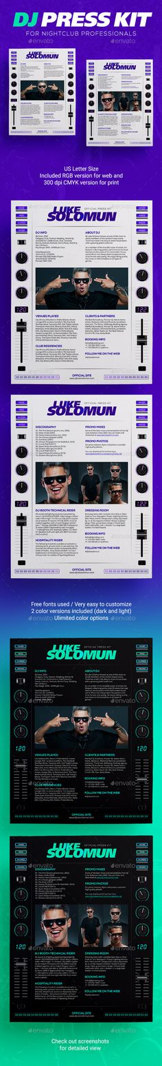 Roll - DJ Press Kit \/ DJ Resume \/ DJ Rider PSD Template Press - dj resume