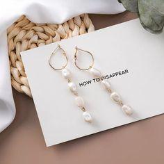 l Metal Long Tassel Drop Earrings Sweety Jewelry For Women Pendientes Gift - four pearls Small Gold Hoop Earrings, Tassel Drop Earrings, Women's Earrings, Statement Earrings, Fashion Earrings, Beautiful Earrings, Modern Jewelry, Yolo, Pearls