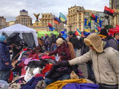 The good will of Ukrainians - clothes donated for those on Maidan #Euromaidan #Kyiv #Ukraine