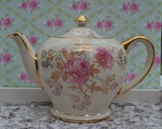 Sadler Teapot Full Size, Vintage English Rose Floral and Gilt Pottery, Excellent Condition by ImagineHowCharming on Etsy
