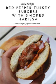 Easy Red Pepper Turkey Burgers with Smoked Harissa