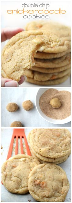 Soft and Chewy Double Chip Snickerdoodle Cookies - familyfreshmeals.com - amazing recipe!
