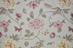 P/M Edinburgh Weavers Felicity Grey Floral & Butterfly Curtain Upholstery Fabric