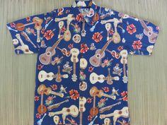 9ec8b9e1c Vintage Hawaiian Shirt KAHALA John Severson Collection Ukulele Hibiscus  Party Musicians Aloha Surf Mod Mens -