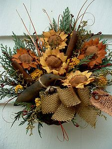 Autumn Decorating with Burlap | Primitive Decor Wall Basket Fall Sunflowers Cattails Crow Burlap Bow ...