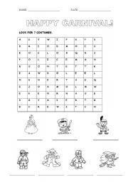 English teaching worksheets: Carnival