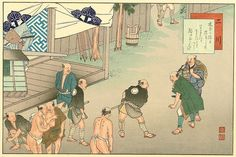 At Futugawa (station #33), Yaji is challenged by a samurai -- to his horror and everyone else's amusement.
