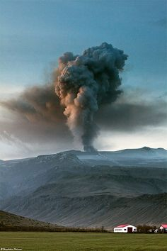 Ash Plume above Eyjafjallajökull, south Iceland