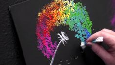 Simple RAINBOW Dandelion with blowing fluff with Cotton swabs in Acrylic Paint on Canvas Step by step tutorial. Easy Canvas Painting Diy, Diy Painting, Beginner Painting On Canvas, Acrylic Painting Lessons, Dandelion Painting, Rainbow Painting, Dandelion Drawing, Simple Acrylic Paintings, Diy Canvas Art