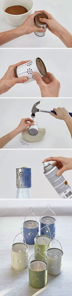 Easy DIY Crafts: DIY Tin Can Lanterns
