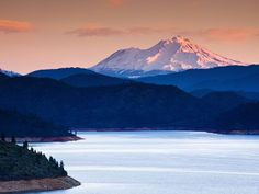 Mount Shasta and Lake Shasta picture, for a gallery on former U. Lake Shasta, American National Parks, Mount Shasta, Mountain Landscape, Best Photographers, Traveling By Yourself, Cool Pictures, California, National Forest