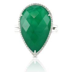 Pear Shape Green Agate & Diamond Ring  www.houstonjewelry.com