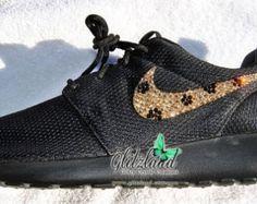 Swarovski Nike Girl / Woman Black Nike Roshe Run Made with SWAROVSKI® Cheetah Print Crystals- New In Box