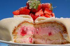 Norwegian layer cake (blotkake). Fresh cream, wild berries and a little bit of sponge in between