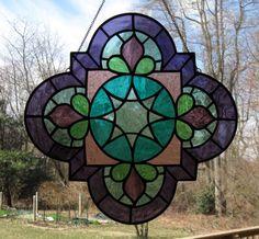 "Arabesque Purple, Turquoise, Quatrefoil Stained Glass Panel, window, suncatcher gift, 18""x18"""