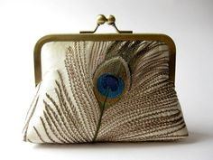 embroidered peacock feather clutch