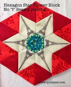Hexagon Star Flower - No 'Y' Seams tutorial Quilt Block, Hexagon Star, Star Flower