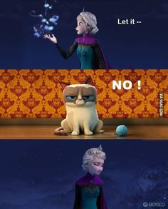 If grumpy cat played in Frozen.