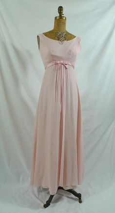 Vintage 60s 1960s Pink Prom Party Bridesmaid Formal Dress Gown Chiffon and Satin