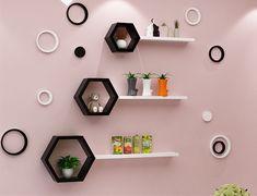 Floating Shelf - Welcome to Esshelf Honeycomb Shelves, Hexagon Shelves, Wine Shelves, Display Shelves, Wall Showcase Design, Floating Corner Shelves, Home Room Design, Displaying Collections, Room Decor
