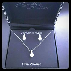 Pure silver plated set Necklace and earrings.  Cubic zirconia Jewelry
